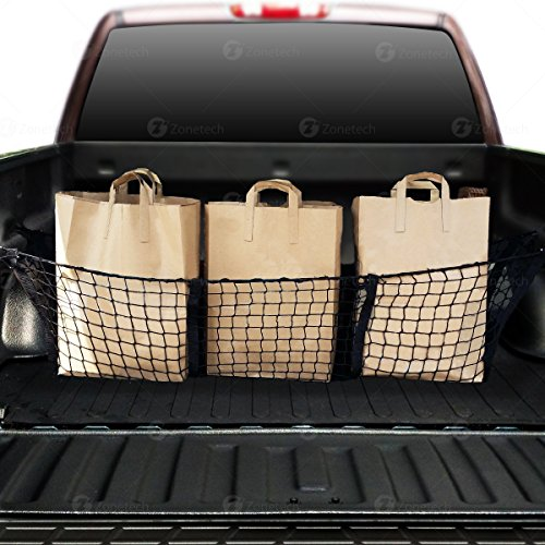 Zone Tech Car Trunk Mesh Cargo Net Three Pocket Net- Elastic Storage Universal Automobile Organizer- Stretchable Mesh Truck Bed Basket