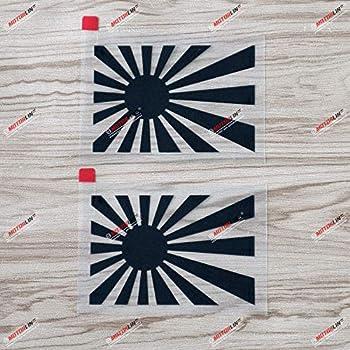 2X Black 4   Japanese Rising Sun Variant Flag of Japan Naval Car Vinyl Decal Sticker JDM Vinyl die Cut no Background