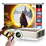 6200 Lumen 1080P Video Projector Wireless Bluetooth- 2021 Updated LED Smart WiFi Home Theater Projectors for Outdoor Movies Games Artworks, Built-in Speaker Keystone & Zoom