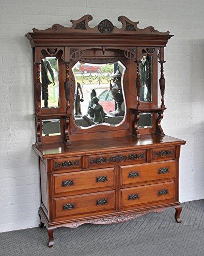 Antiguo en inglés–Mueble aparador con gran espejo accesorio de nogal