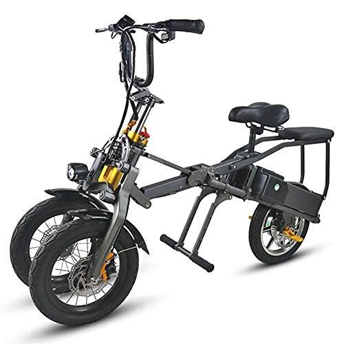LHLCG Scooter for Adult Bicicleta eléctrica Plegable de Tres Ruedas - Aleación de Aluminio de aviación de Bicicleta eléctrica Plegable con batería de Litio