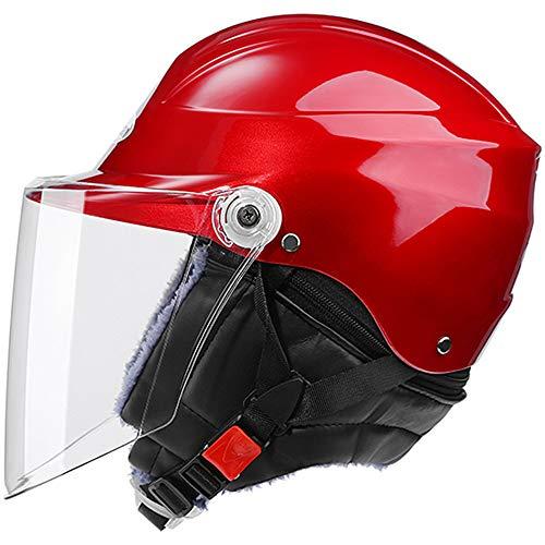Ecloud Shop® Visor de Bicicleta frontal Levante el casco de invierno modular con protector solar para hombres y mujeres Casco de automóvil eléctrico, casco de bicicleta (rojo) ✅