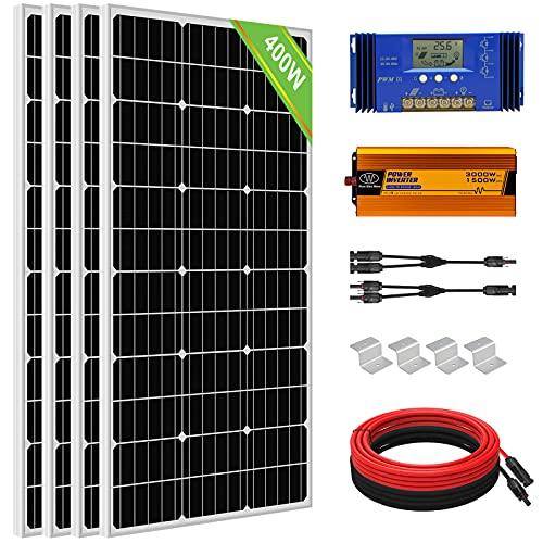 ECO-WORTHY 1,6 kW · H/Tag modulo solare con inverter 400 W 24 V Kit per camper e casa collegabile alla rete: 4 pannelli solari da 100 W + regolatore di carica 60 A + inverter da 1500 W DC24 V AC220 V