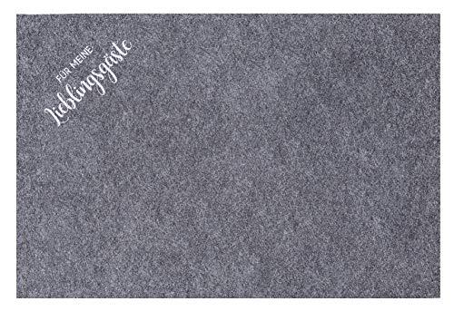 MC Trend 4er Set Filz Tischsets Platzset mit Sprüchen Platzmatten für Ihren Glastisch Tischdekoration Unterlagen (4er Set Grau Für Meine Lieblingsgäste)