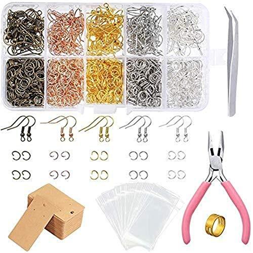 WY-YAN 1328 Conjunto de pendiente que hace fuentes con ganchos del pendiente, Puentes, pendiente acortan, alicates, pinzas, fija sistemas del pendiente, anillos cruzados for hacer y pendientes Reparac