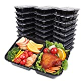 SMELHA 40oz Meal Prep Containers 3 Compartments [30 Pack], Reusable Lunch Food Containers With Lids, BPA Free Food Storage Bento Box Set for Adults & kids, Spill Proof, Microwave Dishwasher Free