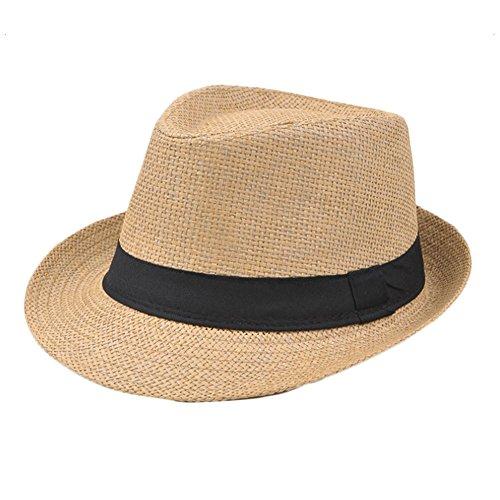 Gespout Cappello Adulti Uomo Cappello Panama Tesa Larga Cappello da Sole Cappello del Bacino Berretto da Spiaggia Cappello di Paglia Cappello da Jazz Topper All'aperto Casual Beret,Cachi