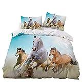 LIANHUAA - Set di biancheria da letto con motivo di cavalli e animali selvatici, in morbida microfibra, copripiumino per adulti, teenager, bambini, ragazzi (4, 140 x 210 cm)