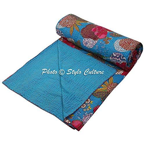 Stylo Culture Colcha tradicional étnica Kantha india doble turquesa de algodón tropical de frutas cosidas a mano