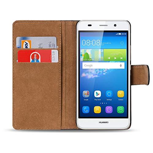Verco Y6 2 Hülle, Handyhülle für Huawei Y6 II Tasche PU Leder Flip Case Brieftasche - Schwarz - 2