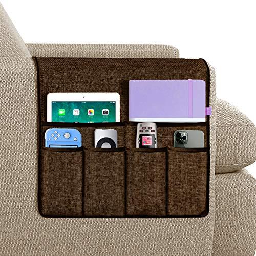 Joywell Sofa Armrest Organizer Couch Caddy Remote Holder Control, Brown