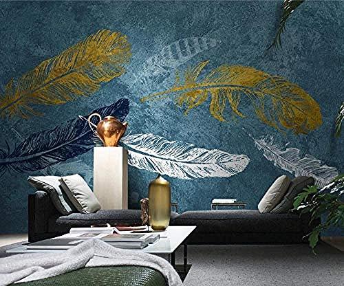 Behang 3D muur muurschildering voor woonkamer en slaapkamer muurschilderingen Home muurdecoratie blauw aquarel wit gouden veren behang 430cm×300cm