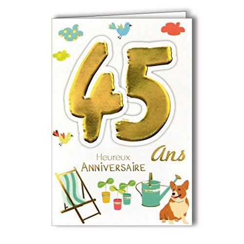 Age Mv 69-2033 Carte Anniversaire 45 ans Homme Femme motif Jardinage Plantes Arrosoir Repos Transat Chien Oiseaux
