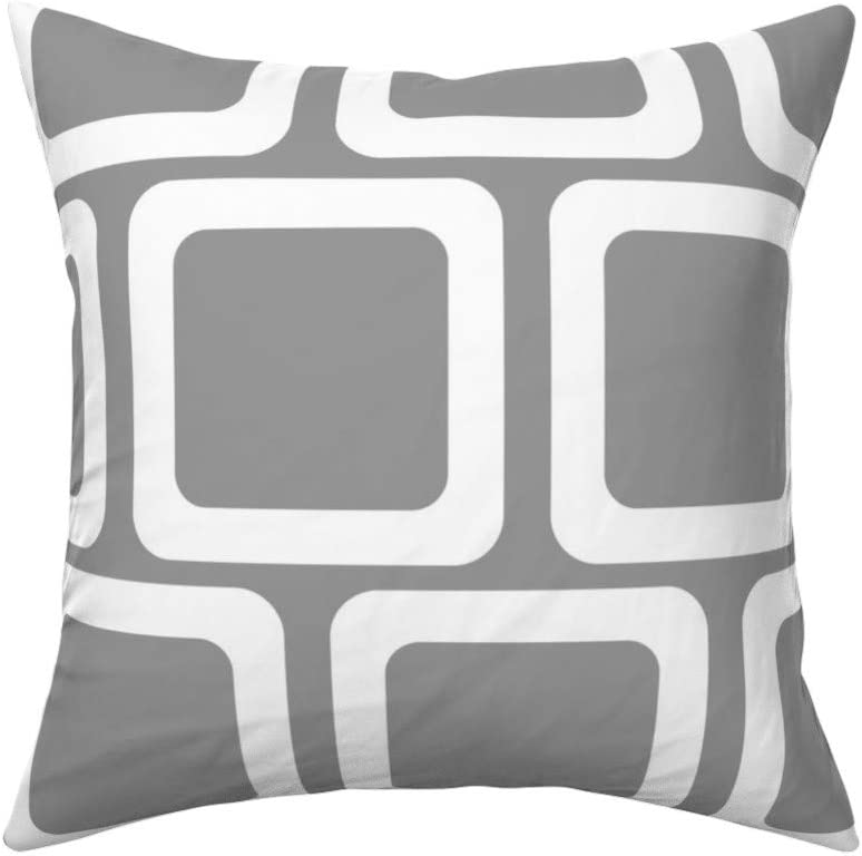 Amazon Com Roostery Throw Pillow Round Square Squircle Midcentury Grey White Mod Print Velvet Knife Edge Accent Pillow 18in X 18in Optional Insert Home Kitchen