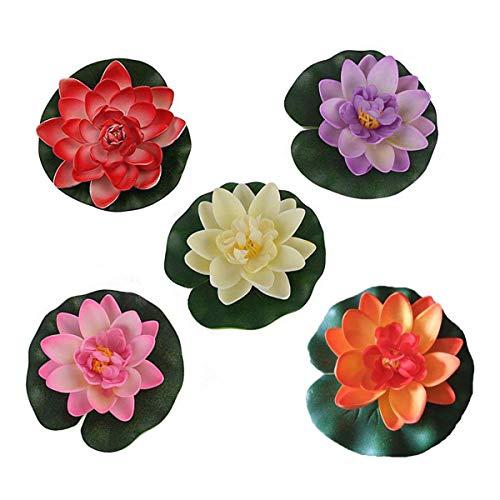 10 pezzi di 4 pollici Floating Flower, impermeabile Fiore di loto per la cerimonia nuziale acquari decorazione(Loto artificiale)