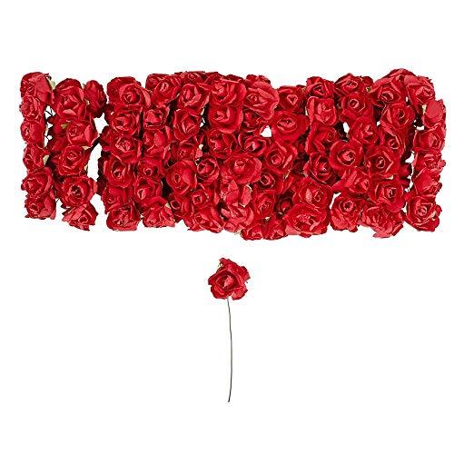 Kleine künstliche Rosen aus Papier | Deko-Blüten mit Draht-Stiel zum Befestigen | Rosenköpfe ca. Ø 1 cm | Kunstrosen, Deko-Rosen, Kunstblumen, Drahtblumen zum Basteln | 144 Stück (rot)