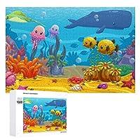 Cartoon Underwater World 木製パズル大人の贈り物子供の誕生日プレゼント(50x75cm)1000ピースのパズル
