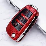 XINERJIA Soporte para Coche Smart Remote Car Styling Accesorios Interiores Carcasa para Llave de Coche, para Audi A1 A3 A4 A5 Q7 A6 C5 C6Rojo