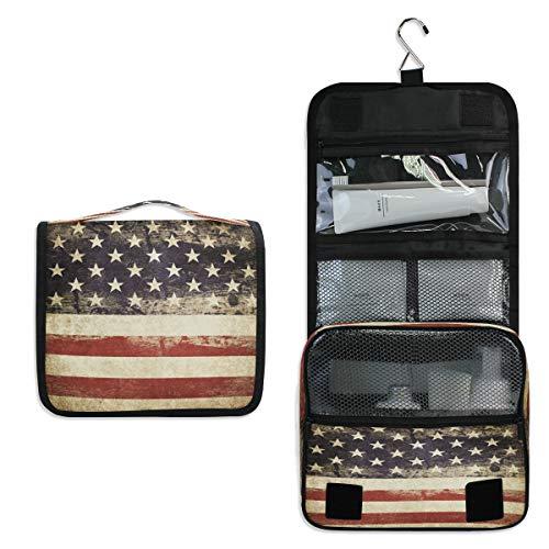 RXYY Hängend Kulturtasche Amerikanisch USA Flagge Star ausklappbar Bad Turnhalle Kulturbeutel Veranstalter tragbar kosmetisch Waschtasche für Frauen Mädchen