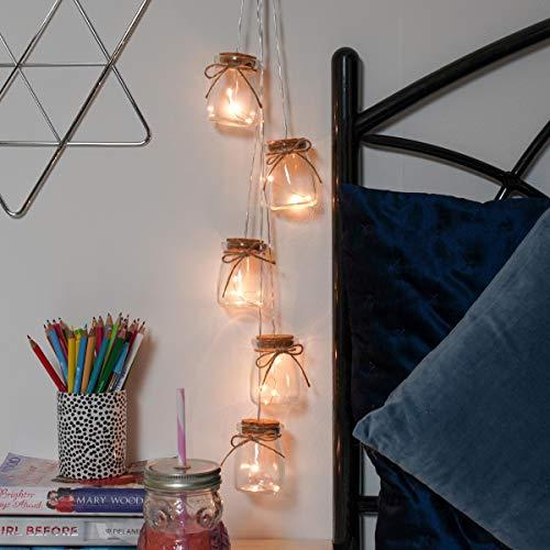 Festive Lights Beleuchtete Echtglas Deko Einmach-Gläser gefüllt mit Silberdraht Lichtern, batteriebetrieben, 15 LEDs in warmweiß, 68cm