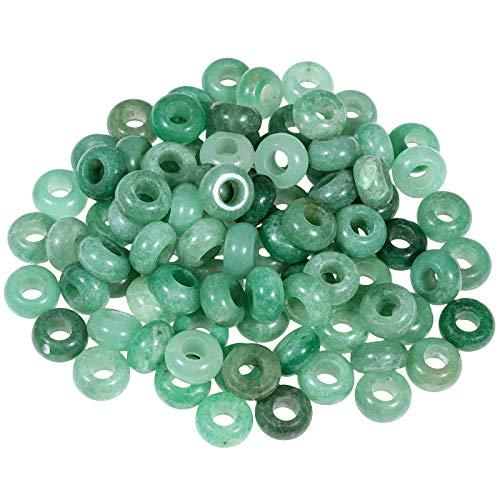 Sunyik Green Aventurine Large Hole (6Mm) Rondelle Loose Charms European Bead Fits Bracelet,Jewelry Makings Pack Of 20