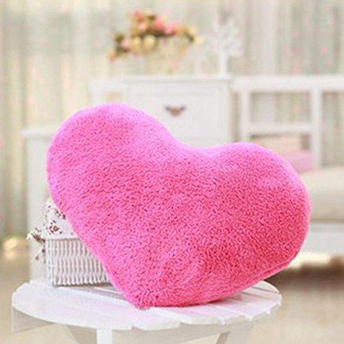 MMRM Fluffy Sweet Heart Shape Cushion Car Chair Back Support Sofa Throw Pillow - Hot Pink