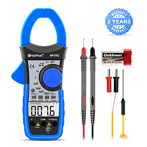 HOLDPEAK 570C Clamp Meter 4000 Counts Auto Ranging Multimeter with AC/DC Voltage & Current, Resistance, Capacitance, Frequency, Diode, Hz Test,Continuity Buzzer,Voltage Detect