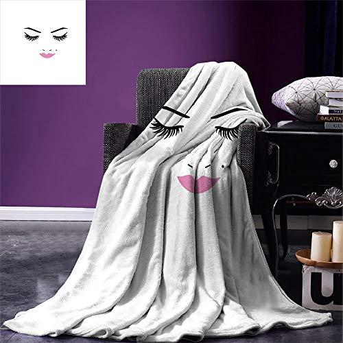 Deken Wimper Deken Gesloten Ogen Roze Lippenstift Glamour Make-up Cosmetica Schoonheid Vrouwelijk Ontwerp Fuchsia Zwart Wit Unisex Alle seizoenen Fleece Deken Warm 102X127Cm Office C