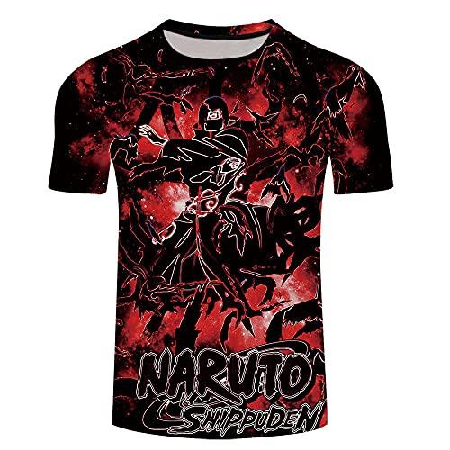 cyxb Unisex Camiseta Estampada Hombre,Naruto Color Creativo Color Splicing 3D Digital Sleeve T-Shirt-Xt274_Grande