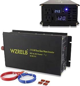 WZRELB 1500W Pure Sine Wave Solar Power Inverter Generator 24V DC to 120V AC Converter Car Inverter