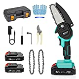 Mini Chainsaw, 4-Inch Cordless Electric Hand-held Chainsaw with Chargeable Batteries and Chain, Pruning Shears Chain Saw for Wood Cutting and Pruning Trees