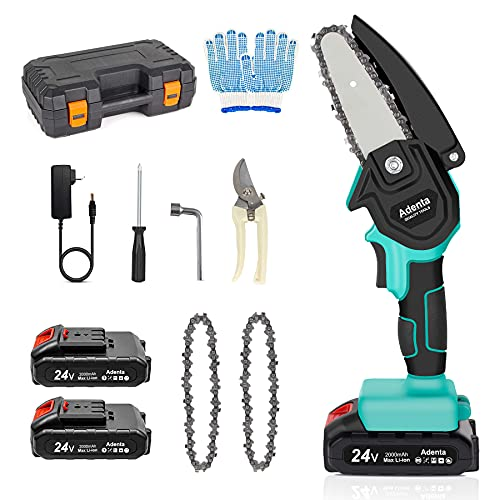 Mini Chainsaw Cordless, 4-Inch Electric Handheld Chainsaw with 2Pcs Chargeable Batteries and 2Pcs Chain, Pruning Shears Chain Saw for Wood Cutting and Pruning Trees