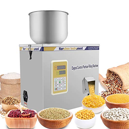 Hanchen 100g Powder Filling Machine Glitters Powder Filler Machine Particle Weighing Filling Machine for Seeds Grains Coarse Powder with Foot Pedal 110v