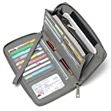 Womens Wallet Large Capacity Leather Zipper Around Ladies Clutch Card Holder Organizer