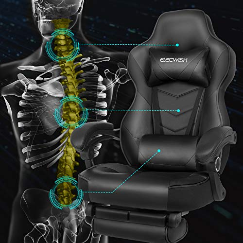 Ergonomic Computer Gaming Office Chair, Large Size PU Leather High Back Racing Widen Thicken Seat Retractable Footrest Lumbar Support Black