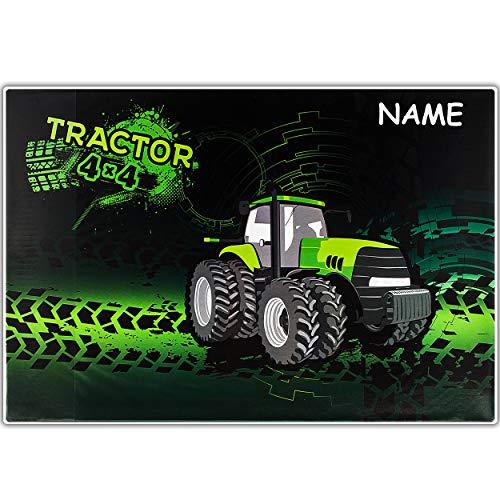 alles-meine.de GmbH große XL - Schreibtischunterlage / Unterlage - grüner Traktor - inkl. Name - 60 cm * 40 cm - abwischbar - Tischunterlage / Knetunterlage / Bastelunterlage - a..
