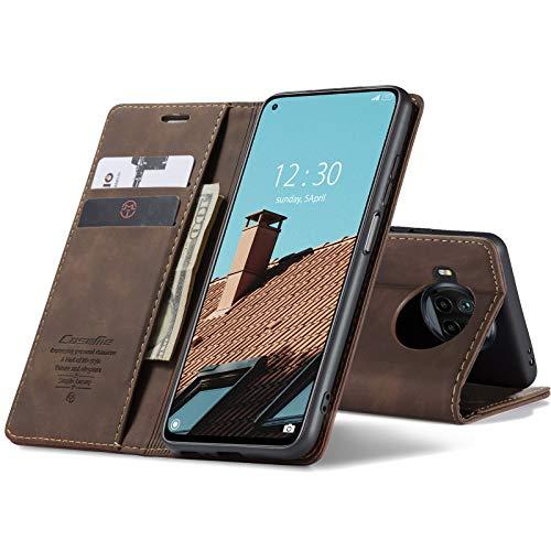 Chocoyi Kompatibel mit Xiaomi Mi 10T Lite 5G Hülle Leder,Magnetverschluss Premium PU Leder Flip Hülle,Standfunktion.-Kaffee Braun