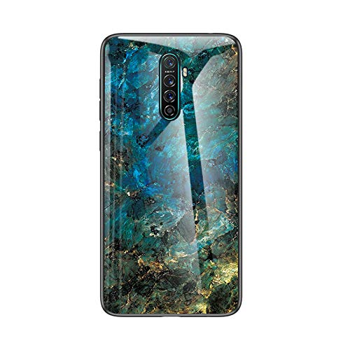 SHIEID Hülle für Oppo Realme X2 Pro Hülle,Marmor Gehärtetem Glas und Silikon Rand Hybrid Hardcase Stoßfest Kratzfest Handyhülle Dünn Hülle Handyhülle für Oppo Realme X2 Pro (Blau)