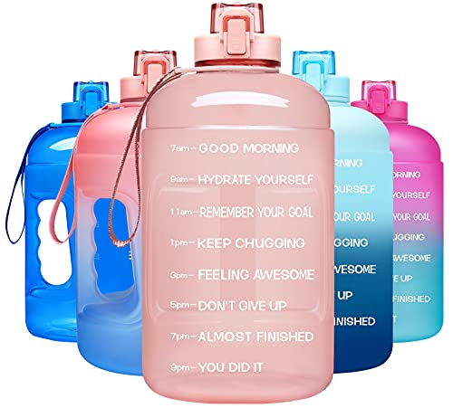 Venture Pal Half Gallon Water Bottle - 64 oz Water Bottle with Time Maker & Sturdy Handle - Leakproof Motivational Water Bottle to Track Your Daily Water Intake