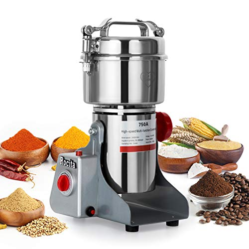 750g Electric Grain Dry Grinder Commercial Swing Type Dry Mill Machine, Stainless Steel 2600W High Speed Pulverizer for Coffee Spice Grind