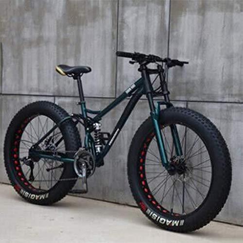 Fat Tire Mountain Bike, Outroad Mountain Bike Snow Bike Sand Bike, 26 inch 21 Speed Anti-Slip Bike for Men&Women, High-Carbon Steel Frame, Dual Disc Brakes Full Suspension MTB