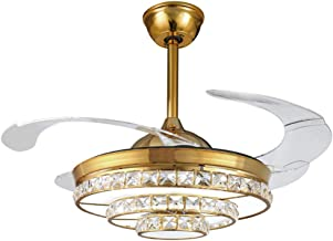 QUKAU European Invisible Fan 42 inch Ceiling Fan lamp Light dimmable Remote Control Pendant Lighting Crystal Chandelier Crystal Ceiling lamp Wrought Iron LED Fan Light (Gold)