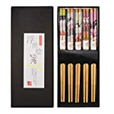 nuoshen Chopsticks Gift Set, 5 Pairs of Natural Wood Reusable Chopsticks Set with Luxurious Black Handmade Box for Sushi, Noodle, Rice, Ramen -Decorated Japanese Style