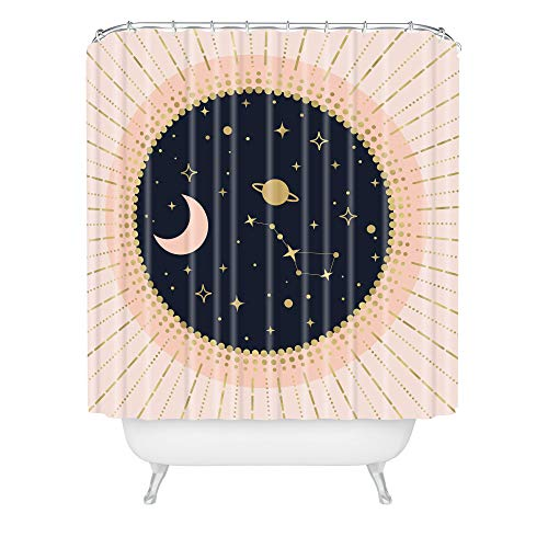 """Society6 Emanuela Carratoni Love in Space Shower Curtain, 72"""" x 69"""" x 0.1"""", Pink"""
