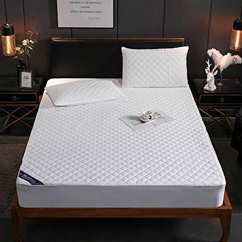 Protector de colchón impermeable acolchado grueso acolchado de color sólido Sábana ajustable Funda de colchón Almohadilla suave y gruesa para ropa de cama-white_180cm * 200cm + 30cm_depth (1pcs)