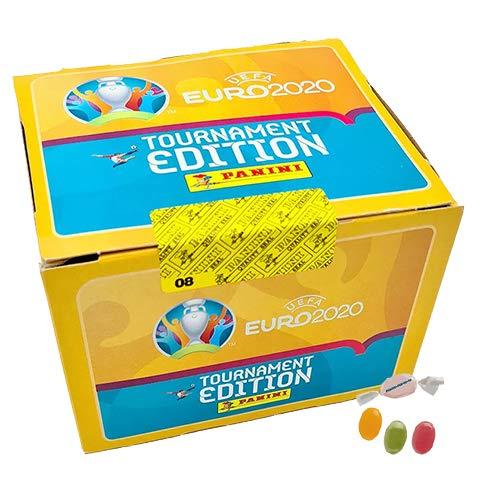 Panini U.EFA E.URO EM 2020™ Tournament Edition – 1x Display mit 100 Tüten zusätzlich 1 x Sticker-und-co Fruchtmix Bonbon