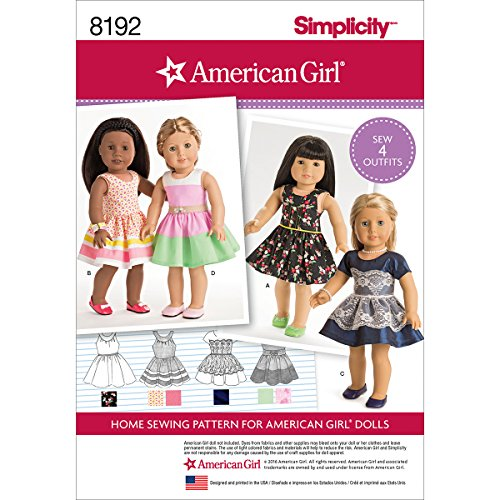 """Simplicity 8192 American Girl Doll Clothes for 18"""" Doll, OS (ONE SIZE)"""