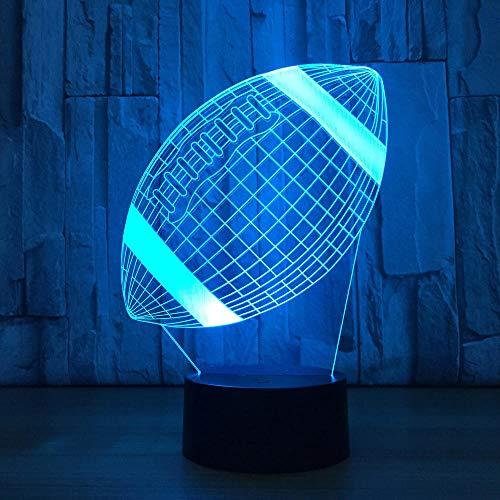 3D Illusionslampe LED Nachtlicht Bunte Fußball/Volleyball/Badminton/Rugby Bälle Sport Tischlampe/Mit Touch/Fernbedienung