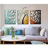 Money Tree Diy 3pcs / Set Kit de pintura por números para adultos Principiante Arte de la pared Imagen Lienzo Pinturas acrílicas Decoración del hogar Regalo único 40x50cm Sin marco