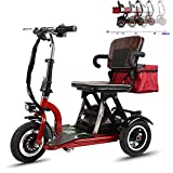 Silla de ruedas ligera, silla de ruedas eléctrica de tres ruedas para discapacitados 48V12AH Batería de litio de 3 velocidades Cambio con bolsa de almacenamiento Scooter de seguridad (rojo)
